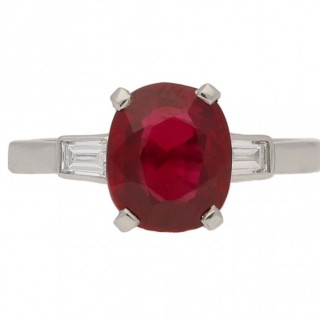 Pigeon Blood Burmese ruby and diamond engagement ring, circa 1935.
