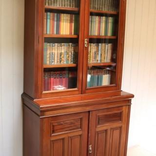 Edwardian Walnut Cabinet Bookcase