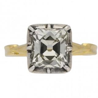 Victorian old mine diamond solitaire ring, English, circa 1890.
