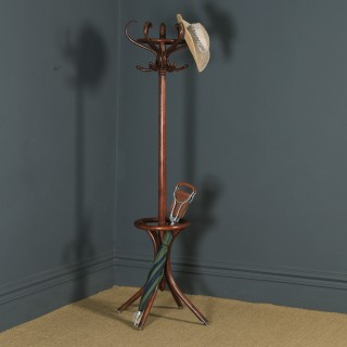 Antique English Edwardian Bentwood Coat, Hat, Stick & Umbrella Circular Hallstand (Circa 1910)