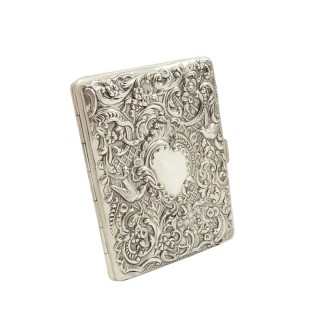 Antique Victorian Sterling Silver Card Case 1897 - Birds & Snakes