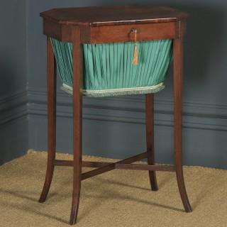 Antique English Georgian Regency Silky Oak & Rosewood Ladies Sewing Work Table (Circa 1820)