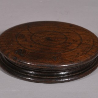 Antique Treen 18th Century Circular Oak Lidded Box