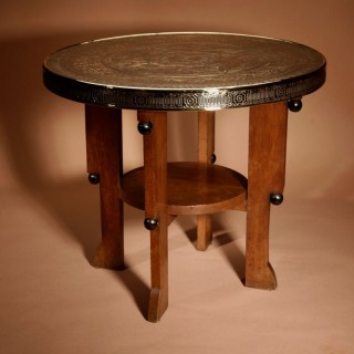 A Rare Amsterdam School Oak, Brass And Ebonised Coffee Table. Circa 1920
