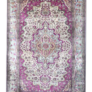Antique Silk Kashan Rug, Persian 125x204cm