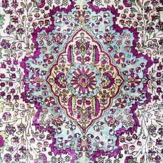 Antique Silk Kashan Rug, Persian 125x204cm