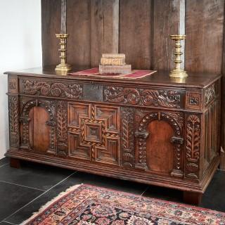 Elizabeth 1st walnut and oak chest