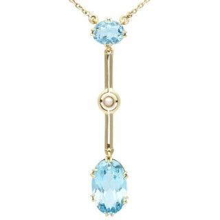 3.25ct Aquamarine and Pearl, 15ct Yellow Gold Pendant - Antique Circa 1920