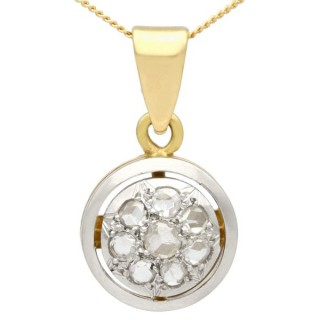 0.35 ct Diamond and 18 ct Yellow Gold Pendant - Antique Circa 1920