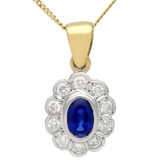 0.57 ct Sapphire and 0.40 ct Diamond, 18 ct Yellow Gold Pendant - Vintage Circa 1990