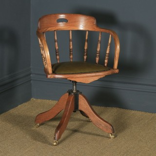 Antique English Victorian Solid Ash & Oak Green Leather Revolving Office Desk Arm Chair (Circa 1895)