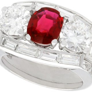 1.70 ct Siam Ruby and 3.02 ct Diamond, Platinum Cocktail Ring - Vintage Circa 1950
