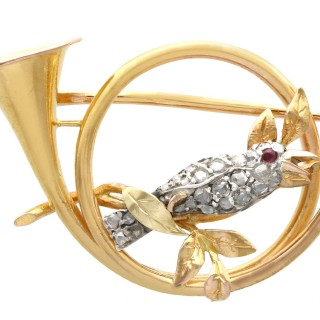 0.22ct Diamond and Ruby, 21ct Yellow Gold and Silver Brooch - Antique Circa 1900