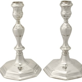 Britannia Standard Silver Candlesticks - Antique Queen Anne