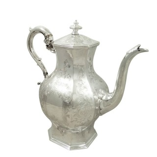 Antique Early Victorian Sterling Silver 3 Pint Coffee Pot 1841