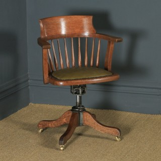 Antique English Edwardian Oak & Green Leather Revolving Swivel Office Desk Arm Chair (Circa 1910)