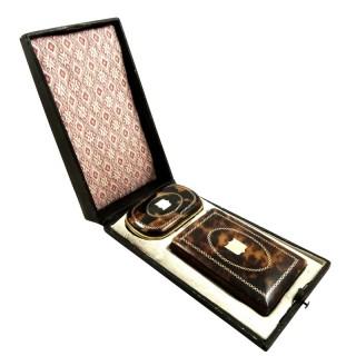 Antique Tortoiseshell & Gold Pique Coin Purse & Aide Memoire in Case c1850