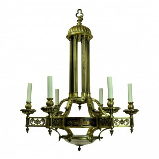 A LARGE GILT BRONZE NEO-CLASSICAL CHANDELIER
