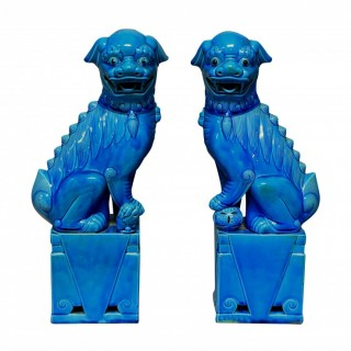 A PAIR OF LARGE TURQUOISE GLAZED FOO DOGS