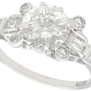 2.37ct Diamond and Platinum Dress Ring - Art Deco - Vintage Circa 1940