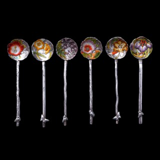 Six Sanju Saku Japanese Meiji art nouveau silver tea spoons
