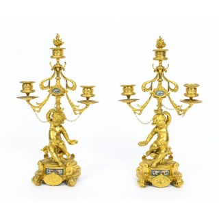 Antique Pair Sevres Porcelain & Ormolu Cherub Candelabra 19th C