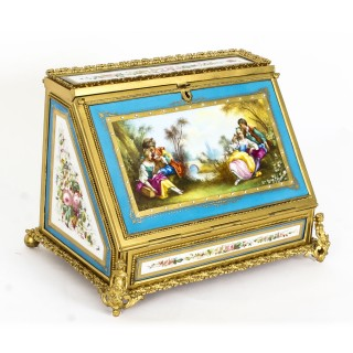 Antique Sevres Desktop Correspondence Casket Stationery Box 19th C