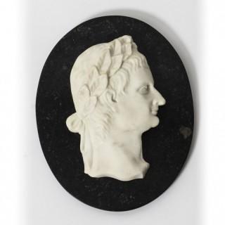 Antique Italian Marble Profile Plaque of Roman Emperor Claudius 19th Century