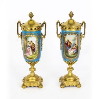 Antique Pair French Bleu Celeste Ormolu Mounted Sevres Lidded vases 19th C