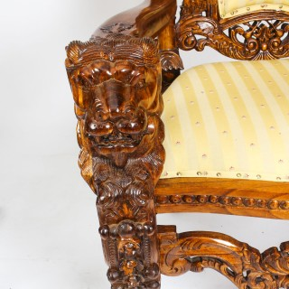 Monumental Pair of Carved Lions Heads Heraldry Throne Chairs Circa 1900.