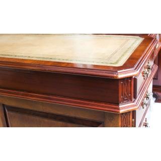 Antique 6ft Mahogany Chippendale Revival Partners Pedestal Desk C1920