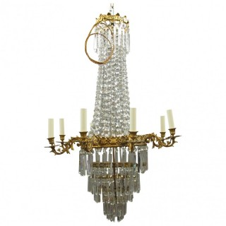 Victorian Cut Crystal Tent and Bag Chandelier