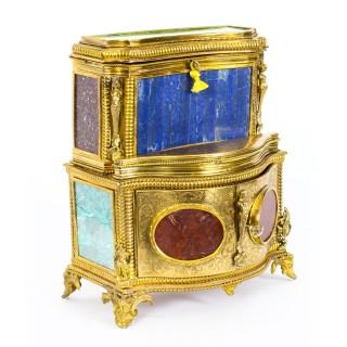 Antique Specimen Precious Hard Stone & Ormolu Mounted Jewellery Cabinet 19th C