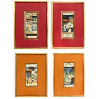 Set 4 Framed 19th Century Antique Indian Miniature Paintings Mughal Harem  Scenes