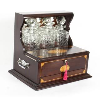 Antique Inlaid Flame Mahogany Three Crystal Decanter Tantalus C1900