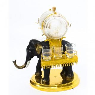 Antique Patinated Bronze & Ormolu Elephant Liqueur Set Tantalus 19th C
