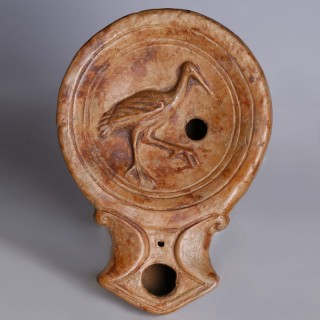 Roman Terracotta Oil Lamp with Stork