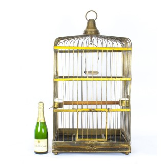 Antique Victorian French Brass Parrot's Cage Bird Cage C1880
