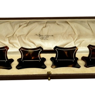 Set of 4 Antique Tortoiseshell with Silver Inlay Menu Holder in Presentation Case