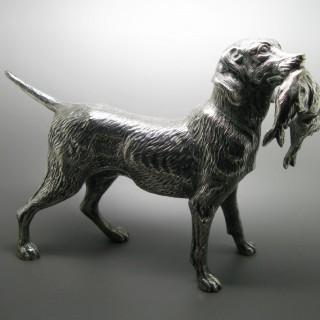 Silver Model of a Labrador Retriever made c1970   by Vera Orfebres of Madrid