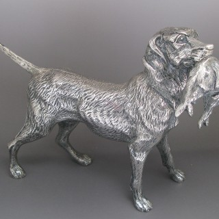 Silver Model of a Labrador Retriever made c1970   by Vera Orfebres of Madrid