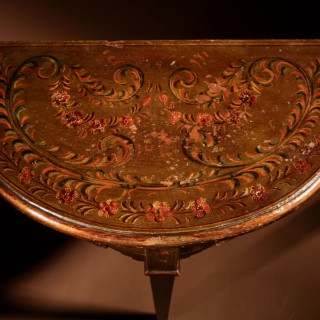 An Early Dutch Hindeloopen (Frisian) Demi Lune Table.