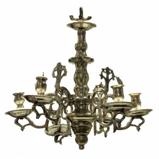 A SMALL SILVER FLEMISH CHANDELIER
