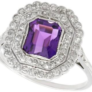 1.92 ct Amethyst and 1.20 ct Diamond, Platinum Dress Ring - Antique Circa 1920