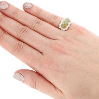 2.19 ct Chrysoberyl and 0.96 ct Diamond, 18 ct Yellow Gold Dress Ring - Vintage Circa 1970