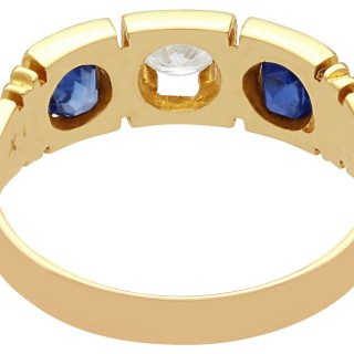 0.62 ct Sapphire and 0.29 ct Diamond and 15 ct Yellow Gold Three Stone Ring - Victorian