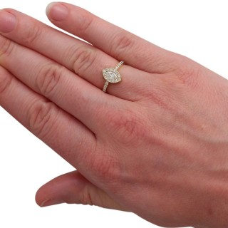0.82 ct Diamond and 18 ct Yellow Gold Cluster Ring - Vintage Circa 1990