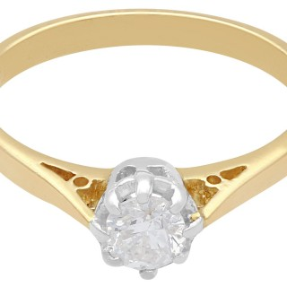 0.38 ct Diamond and 18 ct Yellow Gold, Platinum Set Solitaire Ring - Vintage Circa 1950