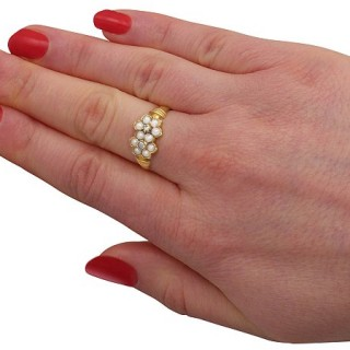 Pearl and Diamond, 18 ct Yellow Gold Dress Ring - Antique 1871