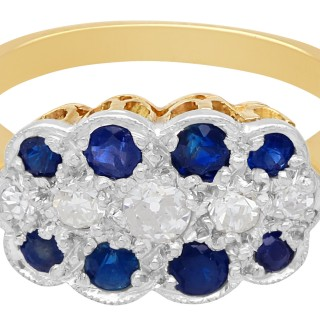 0.32 ct Sapphire and 0.20 ct Diamond, 18 ct Yellow Gold Ring - Antique Circa 1910
